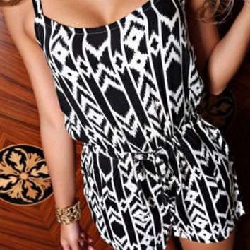 Tribal Black Romper