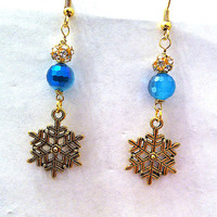 Golden snowflake earrings with two toned blue disco ball crystals winter fashion winter jewelry Christmas earrings