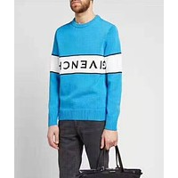 GIVENCHY Trending Women Men Leisure Long Sleeve Round Collar Sweater Pullover Top Blue