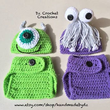 Crochet Mike and Boo Inspired Monster Inc. Outfit - Photo Prop - Hat - Diaper Cover - Made with an Adjustable Waist - Twins - Halloween