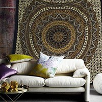 Gold Brown Gia Medallion Boho Bohemian Bedspread Wall Tapestry