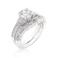 Trista 1(ct) Round Cut Engagement and Wedding  Ring Set | 5ct