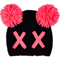 River Island Girls black cross bobble beanie hat