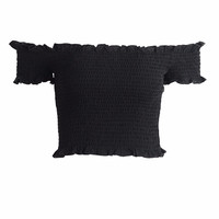 Black Off Shoulder Ruffle Crop Top