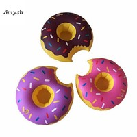Amysh Summer Inflatable Toys cute Drink Can Holder PVC Inflatable Floating doughnut Toy Swimming Pool Bathroom Beach Water Toys