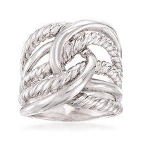 Ross-Simons - Italian Sterling Silver Roped Knot Ring - #834836