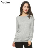 Women O neck Two sides Shirring Casual T-shirt basic long sleeve tees cozy tops 4 colors ZC002