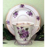 Happy Birthday Personalized Porcelain Tea Cup (teacup) and Saucer