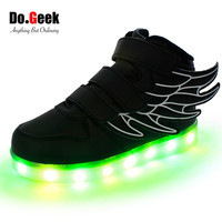 DoGeek Boys Led Shoes Wing Sneakers High Top Light Up Zapatos Girls Chaussure Lumineuse Enfant Sneakers EUR size 25-37