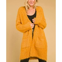Final Sale - Wild Honey - Long Fuzzy Cardigan with Pockets in Gold