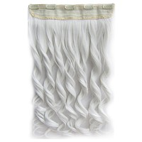 Colorful Straight Hair Extension 5 Clips Wig    White# white