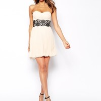 Elise Ryan Bandeau Dress With Scallop Lace Waist
