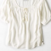 AEO Women's Gauze Peasant Top