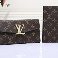 """Louis Vuitton"" Women Classic Logo Letter Lock Multifunction Long Section Purse Flip Wallet"