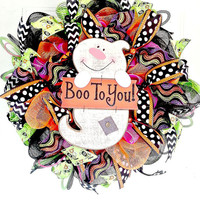 Boo to You Wreath/Halloween Wreath/Holiday Wreath/October Wreath/Boo to You Deco Mesh Wreath/Halloween Deco Mesh Wreath/Halloween Door Decor
