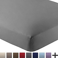 Fitted Bottom Sheet Premium 1800 Ultra-Soft Wrinkle Resistant Microfiber, Hypoallergenic, Deep Pocket (Full, Grey)
