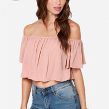 LULUS Exclusive Good Time Blush Off-the-Shoulder Top