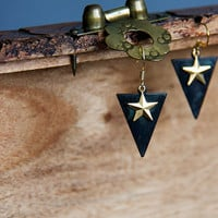 Triangle Star Earrings Military Style Earrings Oxidized Patina Triangle Drops Gold Brass Star Charms - E281