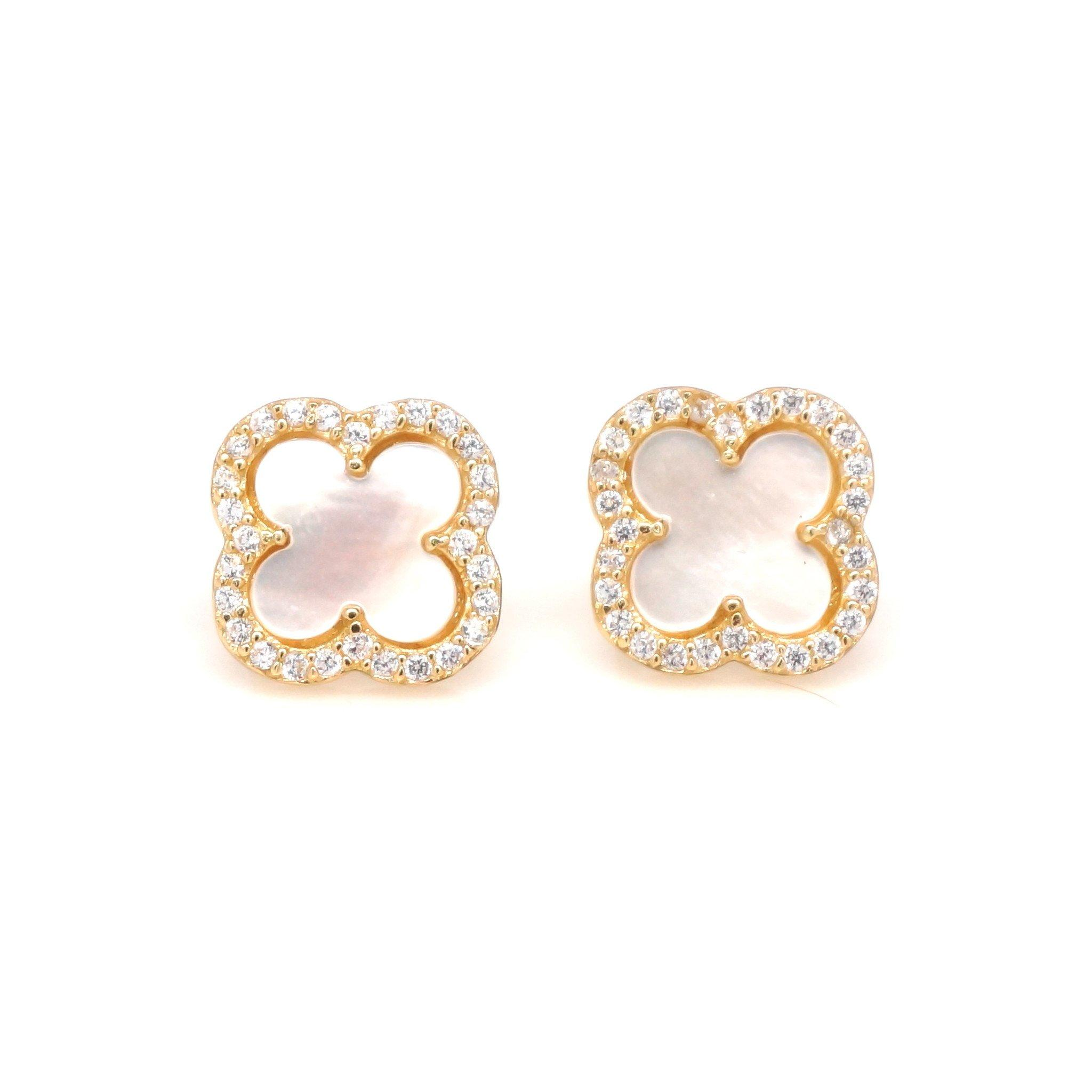 Image of Mother of Pearl CZ Clover Stud Earrings