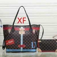 Louis Vuitton LV Women Leather Handbag Satchel Shoulder Bag Clutch Bag Set Two Piece