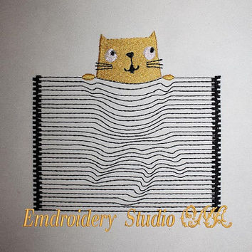 Machine embroidery design Cat 3D effect For girl For boy Pocket Embroidery design Instant download