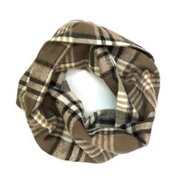 Child's Plaid Scarf Toddler Scarf Flannel Scarf Black Taupe Cream Kid's Tube Scarf Warm Winter Scarf Holiday Gift Ready To Ship