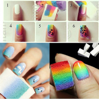 Nail Art Sponge Polish Stamping Stamper Gradient Sticker Cleaning Brushes Nail Decorating Sponge Nail Art Equipment Tool IMY66
