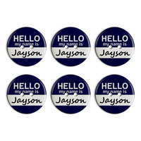 Jayson Hello My Name Is Plastic Resin Button Set of 6