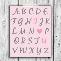 Pink I love you alphabet Digital Download - Art - Canvas - Poster - Print - Home decor - Typography - wall art - framed art - baby girl room