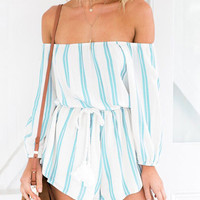 Blue and White Striped High-waisted Long Sleeve Off Shoulder Rompers