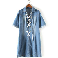 Denim Lace-up front Short Sleeve Denim Dress