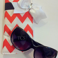 Red and White Chevron Sunglasses Case with Bow