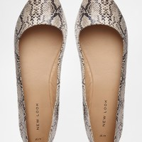 New Look Joinery Snake Effect Flat Shoes at asos.com