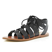 River Island Womens Black lace up gladiator sandals