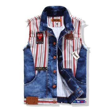 Rinsed Denim Casual Mosaic Korean Denim Vest = 6458350915