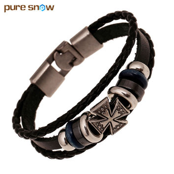 Wristband Jewelry Cross Religous Red Black Leather Bracelets & Bangles Charm Bracelets For Women And Man Valentine's Day Gift