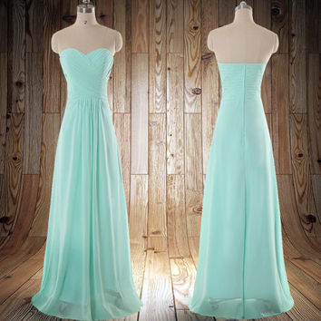 Mint green Sweetheart Strapless A Line Wedding Party Dress Long Bridesmaid Dresses Long Prom Dresses party dress,formal dress
