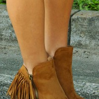 Cross That Line Booties: Chestnut