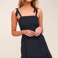 Dotty About You Navy Blue and White Polka Dot Tie-Strap Dress