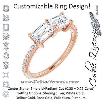 Cubic Zirconia Engagement Ring- The Minerva (Customizable Enhanced 2-stone Emerald Cut Design with Ultra-thin Accented Band)