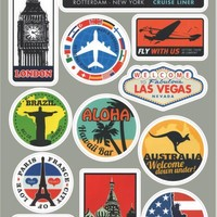 Hot Sell DIY Personalized Retro Luggage Bicycle Laptop Sticker For Macbook Mac Sticker Decal