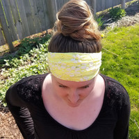 Sunny Yellow Floral Burst Knit Headwrap Women's Yellow Flower Headband Lace Summer Headwrap Girls Lacey Turban Gift for Her Trendy Headwrap