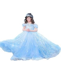Baby Girl Anna Elsa Dress High-Grade Princess Cinderella Fancy  kids clothes for Christmas Party Costume Snow Queen Cosplay
