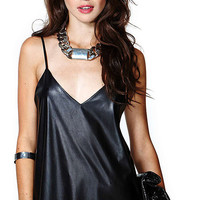 Black Faux Leather Tank Top