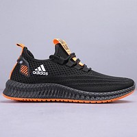 Adidas New fashion letter print knit running shoes Black