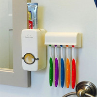Toothpaste Dispenser 5 Toothbrush Holder Set Wall Mount Stand Toothbrush Family Tools Accessories High Quality