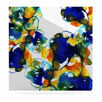 """Sonal Nathwani """"Blue Orange Floral"""" Abstract Watercolor Luxe Square Panel"""