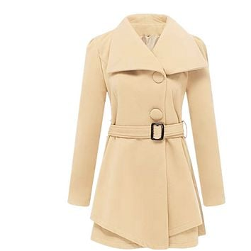New hot sale fashion mid-length woolen coat with belt