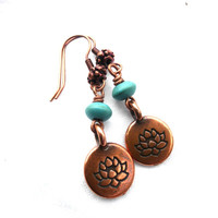 Lotus flower copper charms and blue turquoise stone earrings. Small earrings.