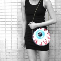 Round Human Eyeball Anatomy Shaped Vinyl Cross Body Shoulder Bag | Handmade | redditgifts